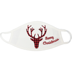 Buffalo Plaid Reindeer Merry Christmas Mask - buffalo-plaid-reindeer-merry-christmas-mask