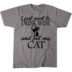 Drink Wine and Pet Cat Tshirt - 2